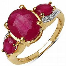14K Yellow Gold Plated 4.40 Carat Genuine Glass Filled Ruby Sterling Silver Ring #78091v3