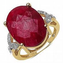 14K Yellow Gold Plated 12.24 Carat Genuine Ruby & White Topaz .925 Streling Silver Ring #78461v3