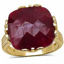 14K Yellow Gold Plated 19.20 Carat Genuine Dyed Ruby Sterling Silver Ring #77382v3