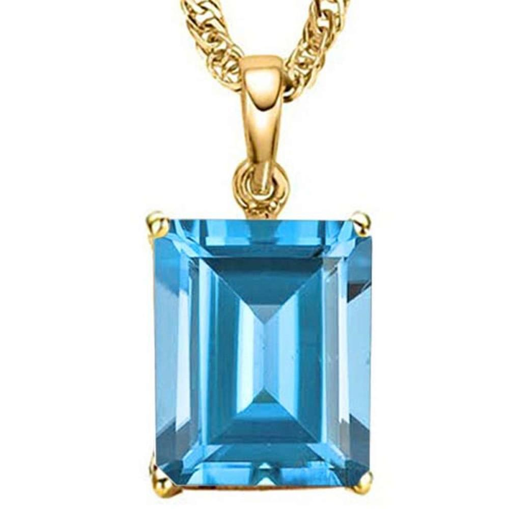 1.2 CTW SKY BLUE TOPAZ 10K SOLID YELLOW GOLD OCTAGON SHAPE PENDANT #IRS56762
