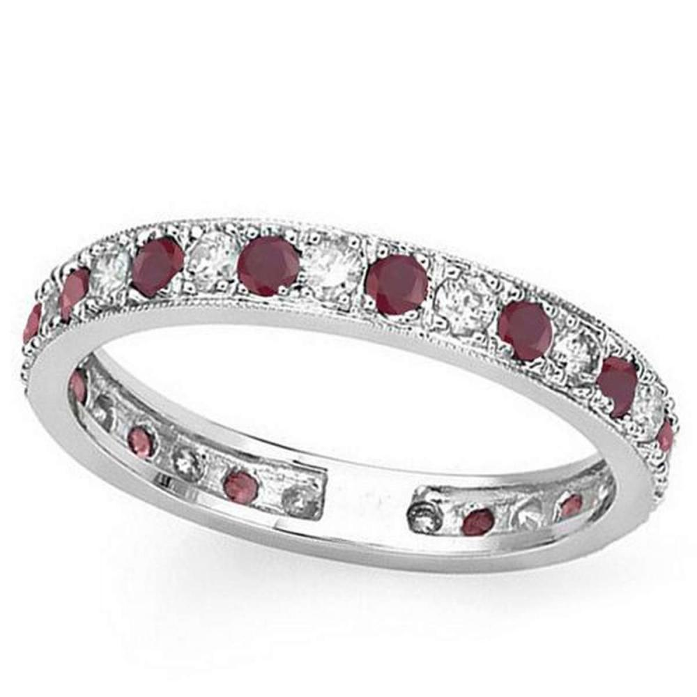 CERTIFIED 0.38 CT RUBY AND 0.6 CT CZ 14KT SOLID WHITE GOLD RING #IRS93642