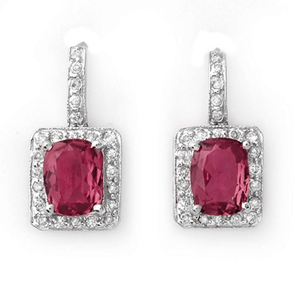 Genuine 3.55 ctw Pink Tourmaline Diamond Earrings 14kt #IRS33145