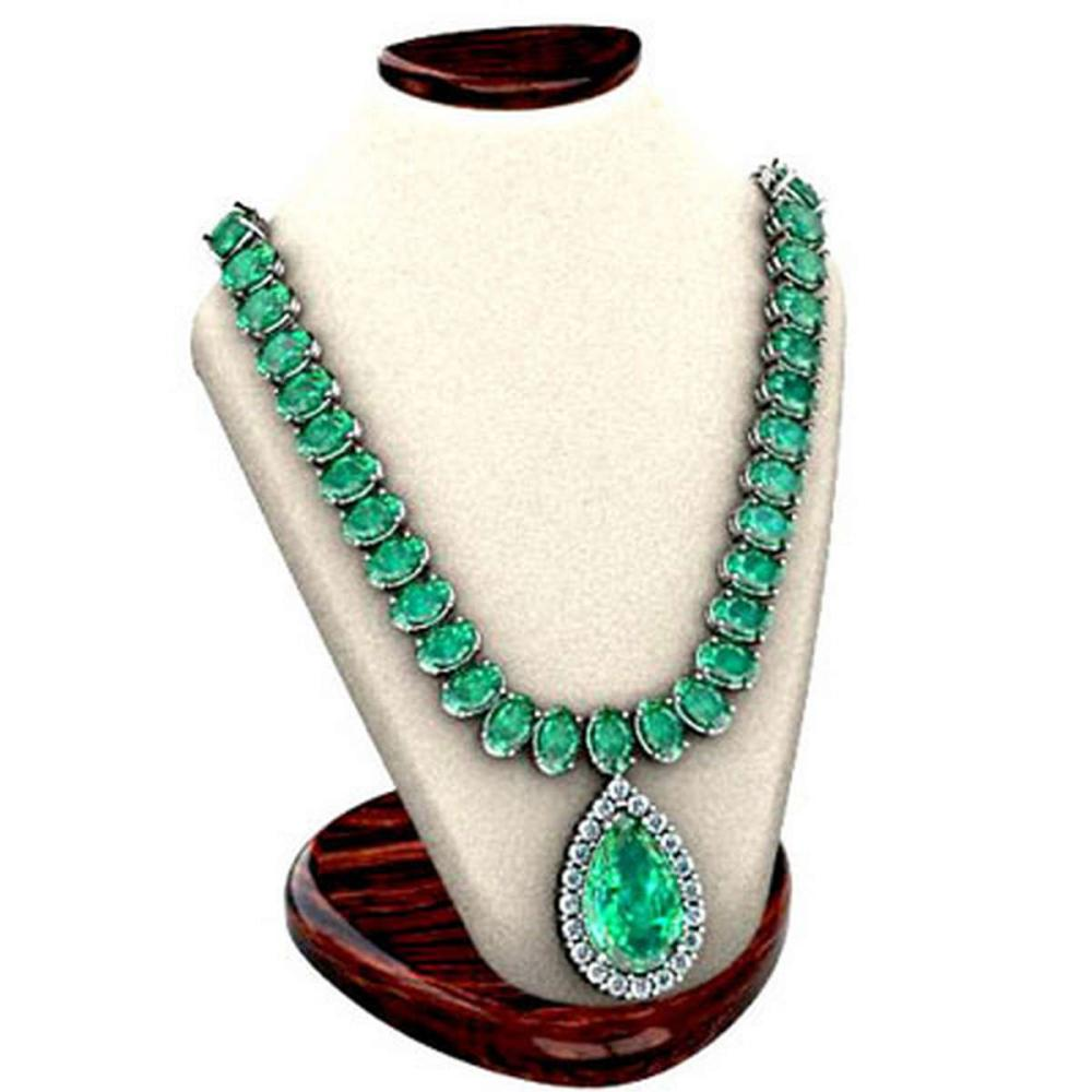 Emerald 59.14 ctw & Diamond Necklace 14kt W/Y  #IRS12755