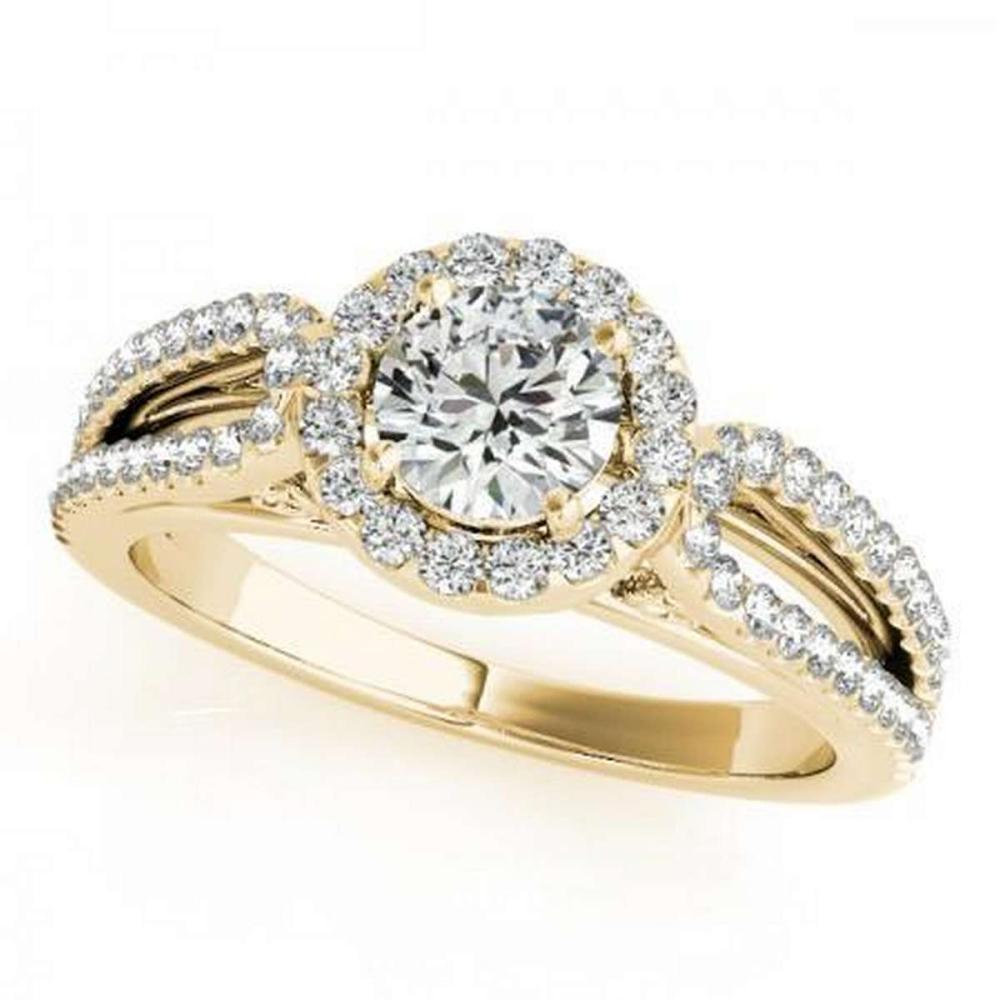 CERTIFIED 18K YELLOW GOLD .85 CT G-H/VS-SI1 DIAMOND HALO ENGAGEMENT RING #IRS86454