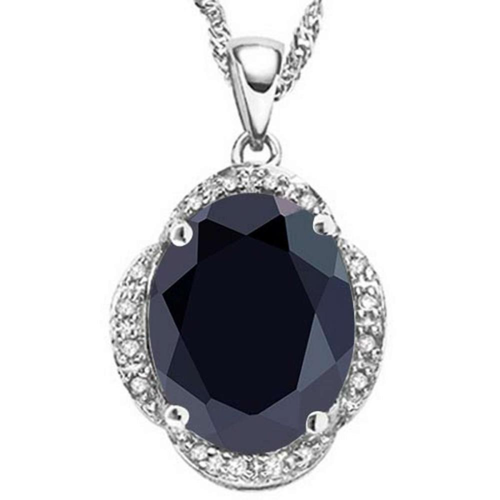 5.55 CTW BLACK SAPPHIRE & (16 PCS) DIAMOND 10KT SOLID WHITE GOLD PENDANT #IRS56598