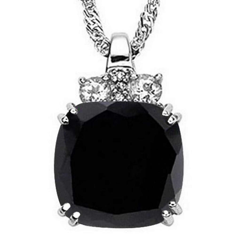 9.6 CTW GENUINE BLACK SAPPHIRE & 0.28 CTW WHITE TOPAZ & GENUINE DIAMOND (3 PCS) 10KT SOLID WHITE GOLD PENDANT #IRS56610