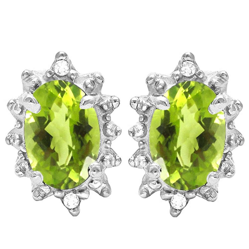 0.98 CT PERIDOT AND ACCENT DIAMOND 10KT SOLID WHITE GOLD EARRING #IRS93713