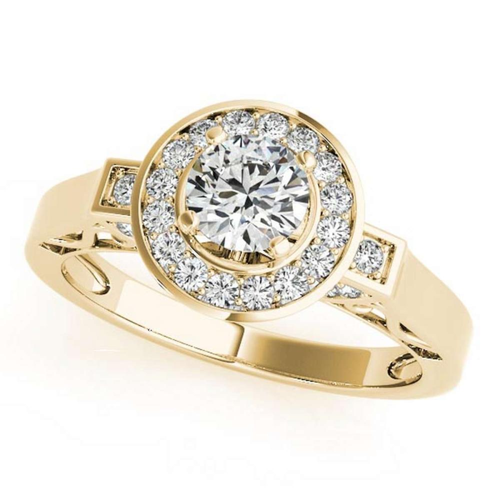 CERTIFIED 18K YELLOW GOLD 0.97 CT G-H/VS-SI1 DIAMOND HALO ENGAGEMENT RING #IRS86434