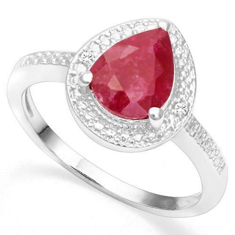.925 STERLING SILVER 2.20 CTW ENHANCED GENUINE RUBY & DIAMOND COCKTAIL RING #IRS20010