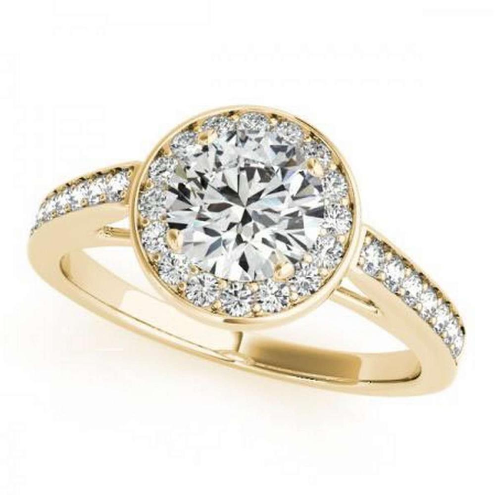 CERTIFIED 18K YELLOW GOLD .87 CT G-H/VS-SI1 DIAMOND HALO ENGAGEMENT RING #IRS86471