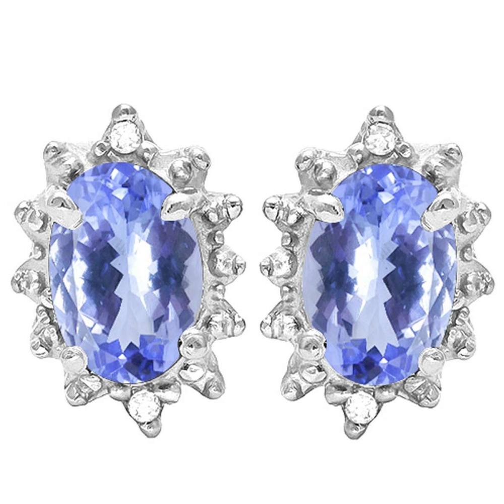0.72 CT TANZANITE AND ACCENT DIAMOND 10KT SOLID WHITE GOLD EARRING #IRS93708