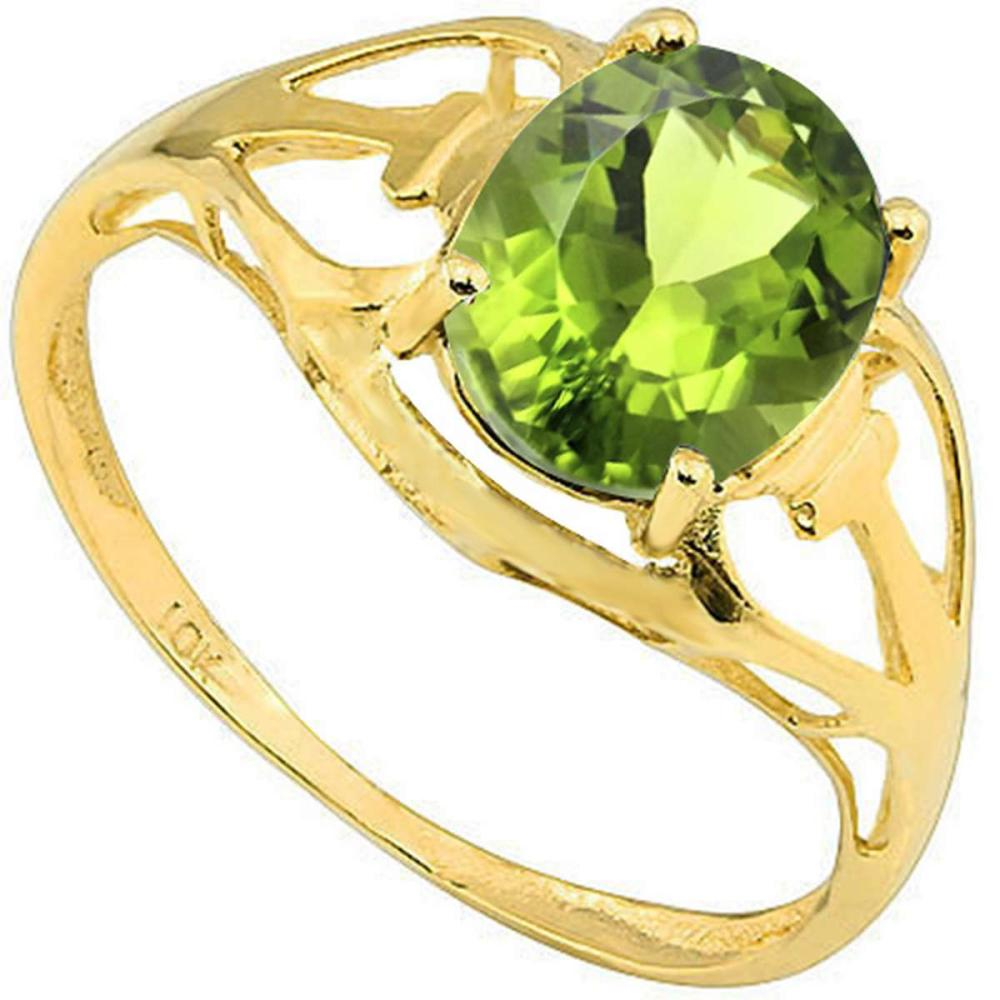 1.42 CT PERIDOT 10KT SOLID YELLOW GOLD RING #IRS93807