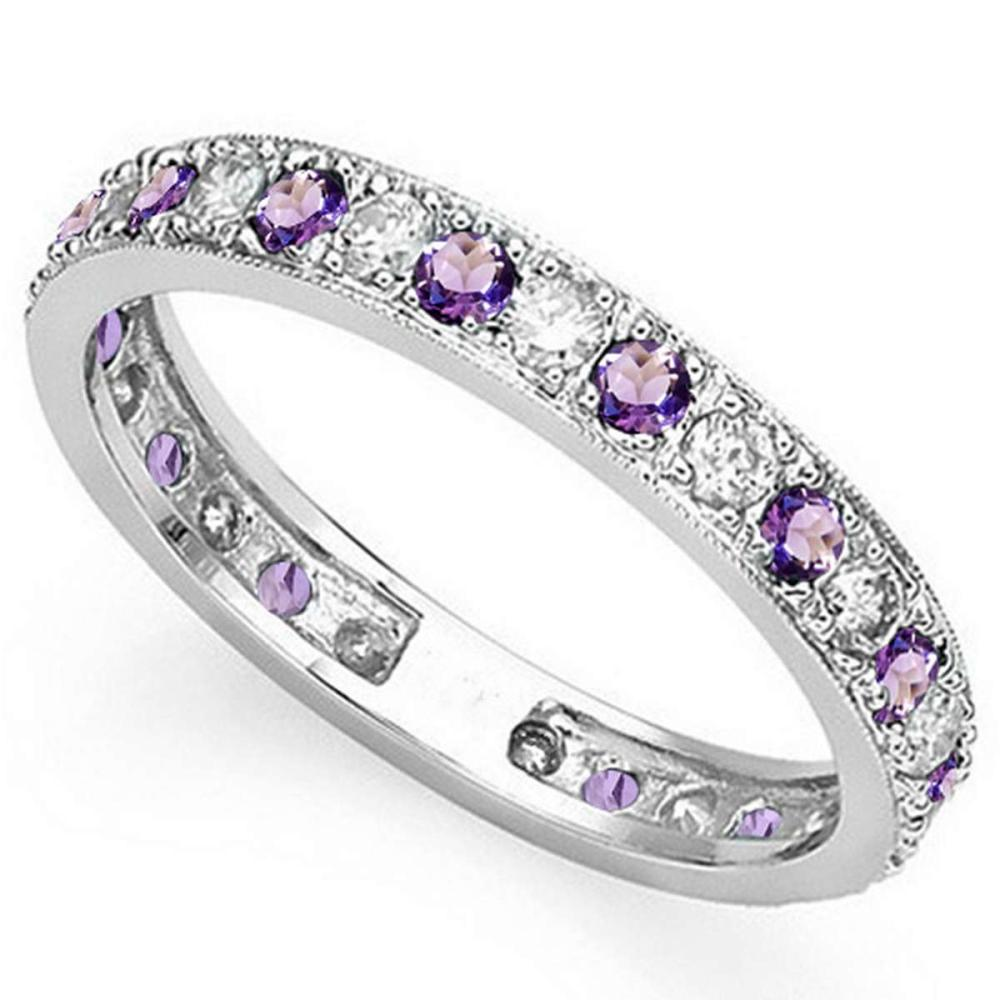 CERTIFIED 0.42 CT AMETHYST AND 0.6 CT CZ 14KT SOLID WHITE GOLD RING #IRS93648