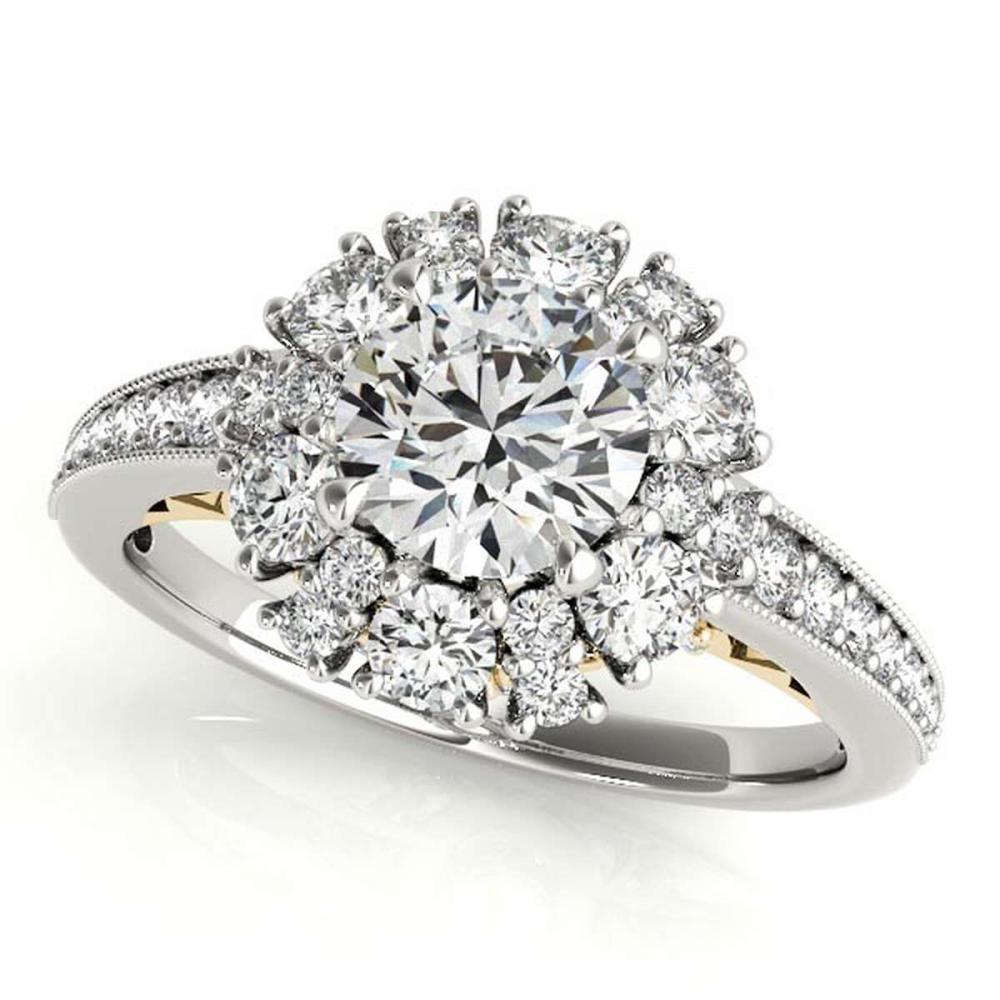 CERTIFIED TWO TONE GOLD 1.41 CT G-H/VS-SI1 DIAMOND HALO ENGAGEMENT RING #IRS86403