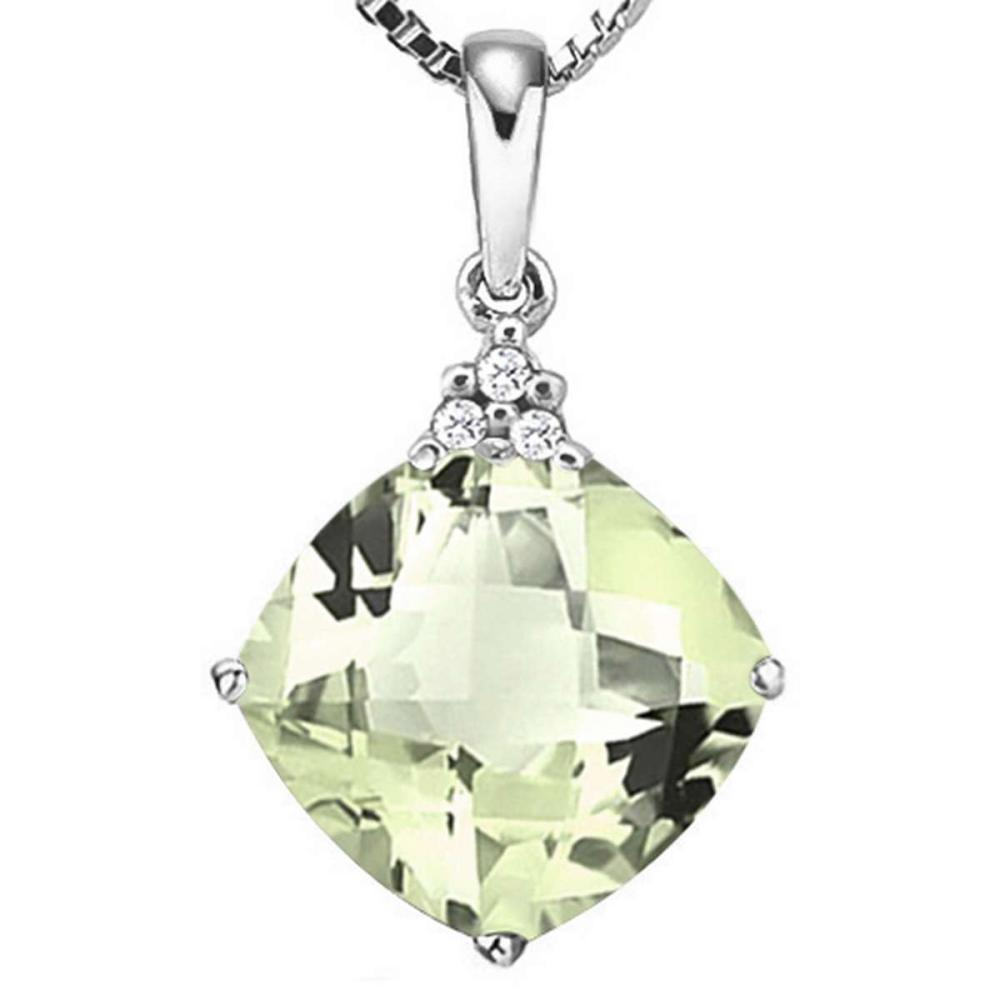 0.84 CTW GREEN AMETHYST 10K SOLID WHITE GOLD CUSHION SHAPE PENDANT WITH ANCENT DIAMONDS #IRS15646