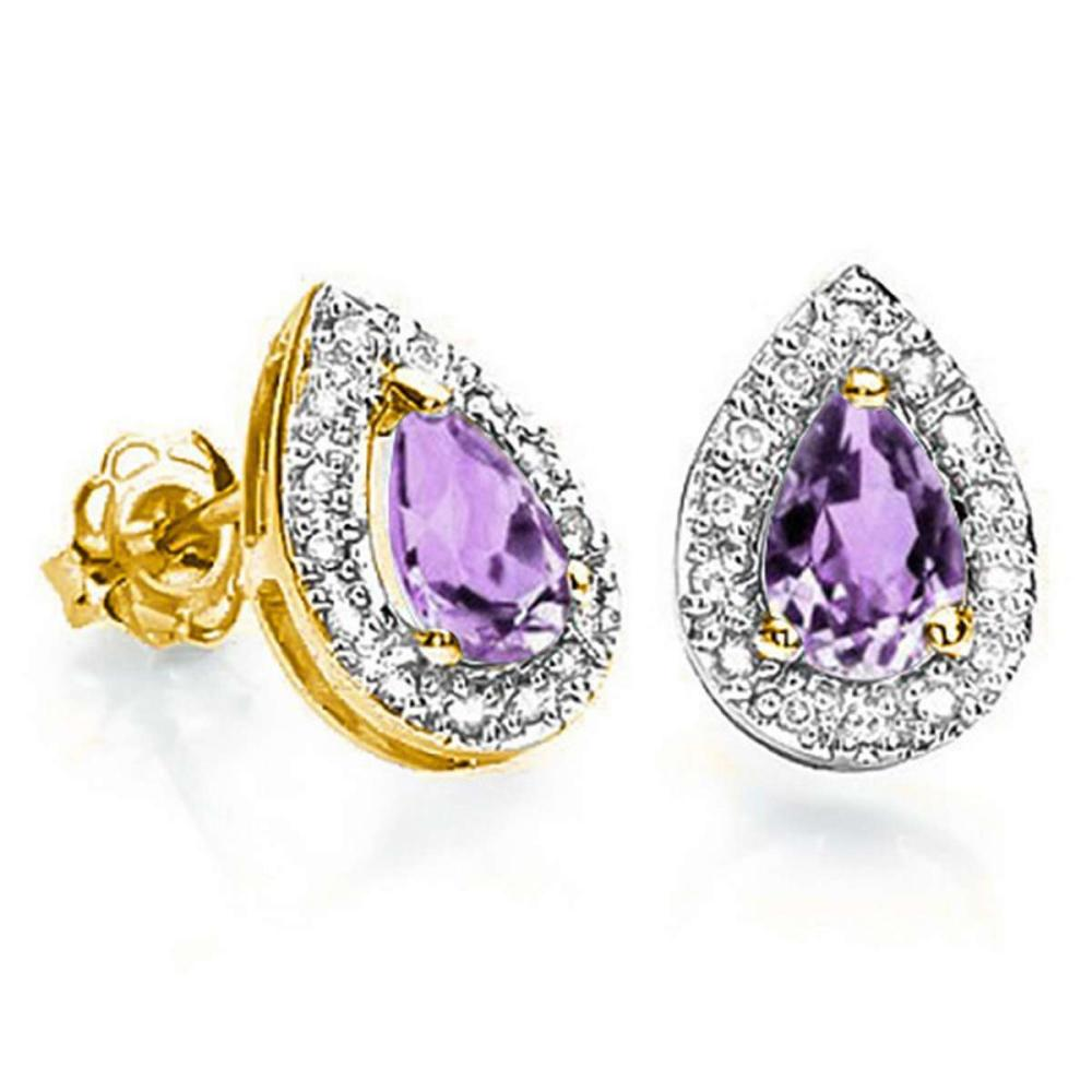 0.57 CT AMETHYST AND ACCENT DIAMOND 10KT SOLID YELLOW GOLD EARRING #IRS93773