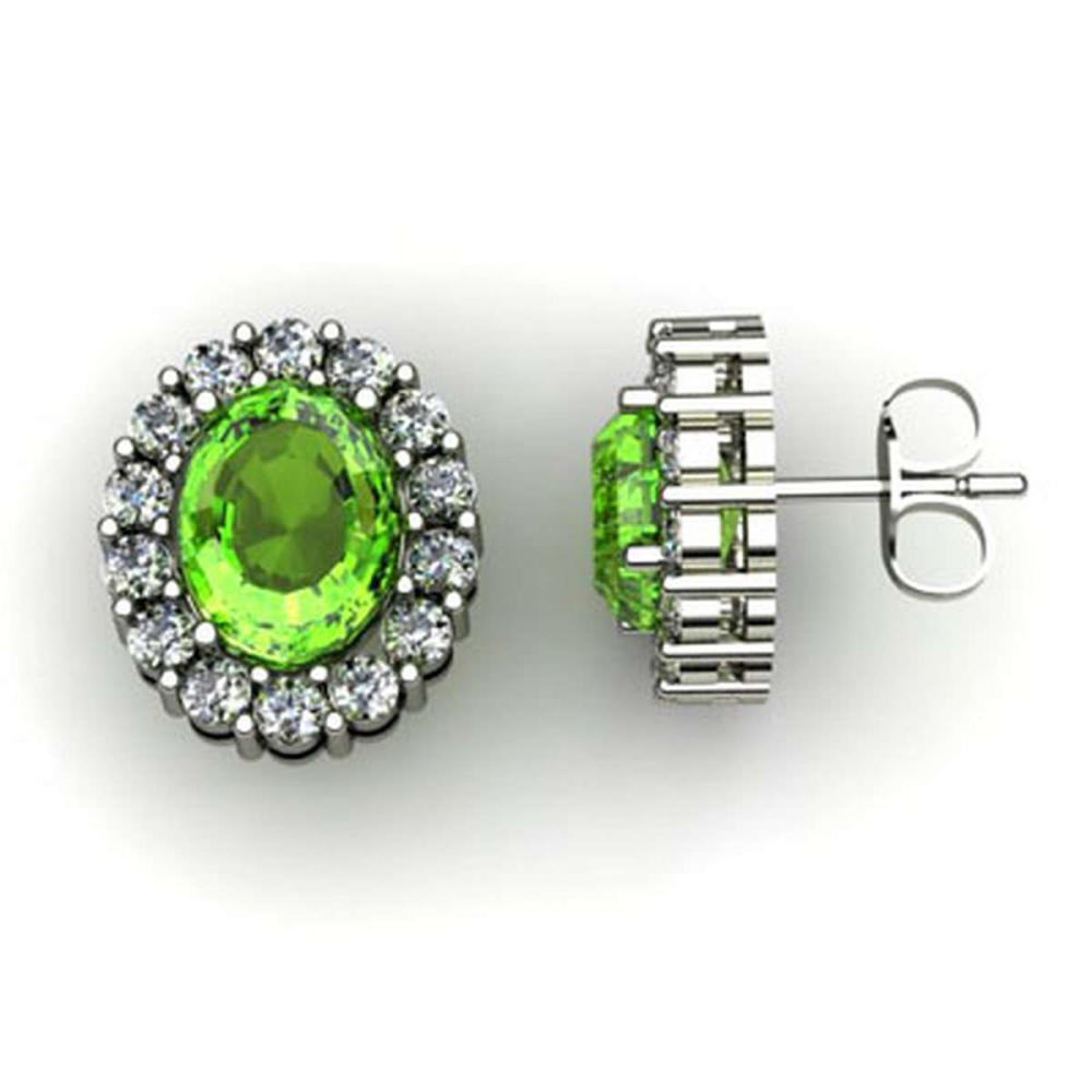 Genuine 3.24 ctw Peridot Diamond Earring 10k W/Y Gold #IRS11970