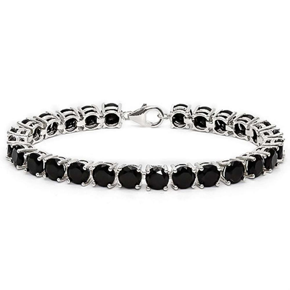 27 CT CREATED BLACK SAPPHIRE 925 STERLING SILVER TENNIS BRACELET IN ROUDN SHAPE #IRS50084