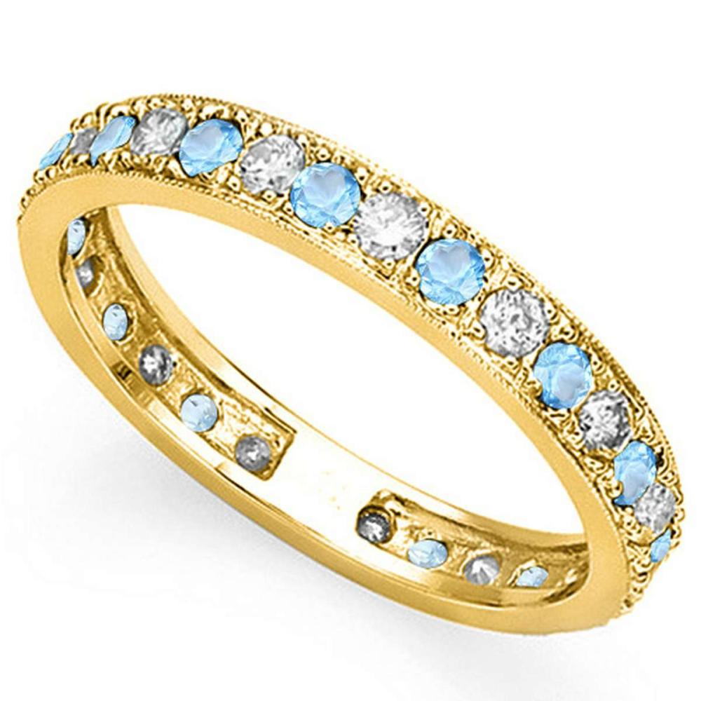 CERTIFIED 0.55 CT SKY BLUE TOPAZ AND 0.6 CT CZ 14KT SOLID YELLOW GOLD RING #IRS93656