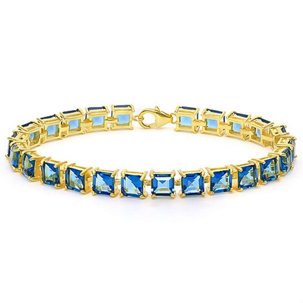 24.1 CT CREATED LONDON BLUE TOPAZ 925 STERLING SILVER TENNIS BRACELET WITH GOLD PLATED IN SQUARE SHAPE #IRS50070