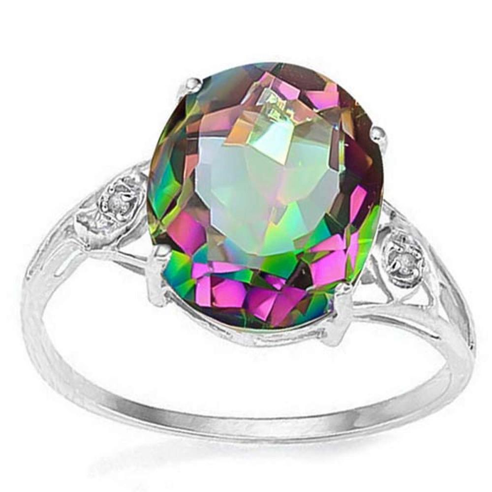 4.3 CT MYSTIC GEMSTONE & GENUINE DIAMOND (2 PCS) 10KT SOLID WHITE GOLD RING  #IRS56571