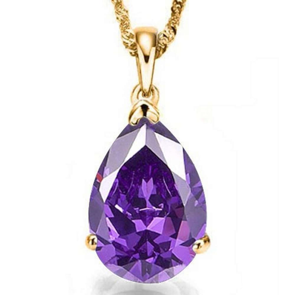 0.7 CTW AMETHYST 10K SOLID YELLOW GOLD PEAR SHAPE PENDANT #IRS56767