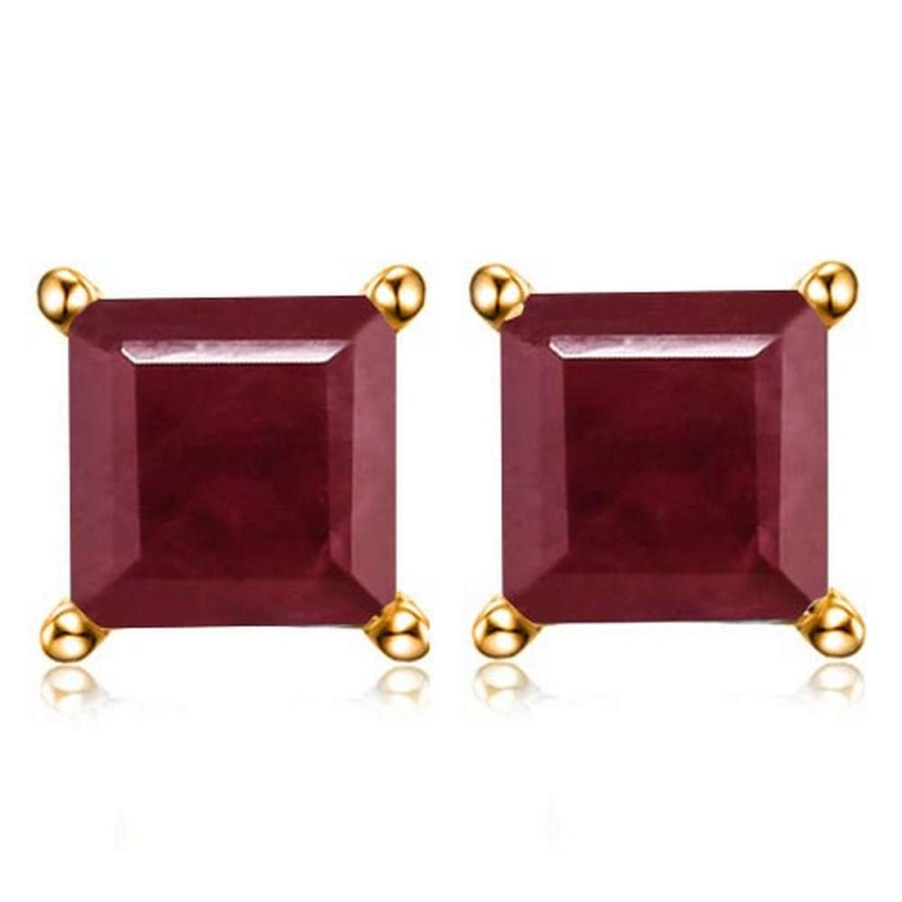 2.0 CTW RUBY 10K SOLID WHITE GOLD SQUARE SHAPE EARRING #IRS56696