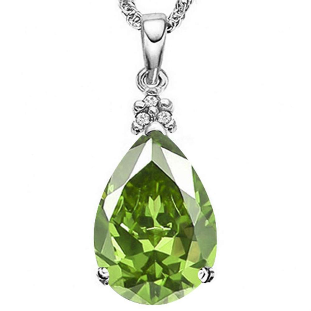 0.58 CTW PERIDOT 10K SOLID WHITE GOLD PEAR SHAPE PENDANT WITH ANCENT DIAMONDS #IRS15615