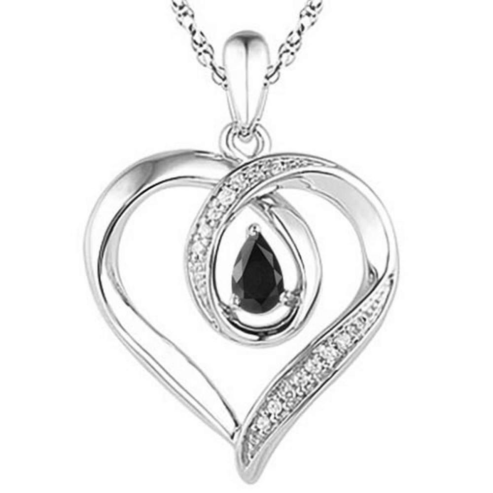 0.55 CARAT MIDNIGHT BLACK SAPPHIRE & CZ 14KT SOLID WHITE GOLD PENDANT #IRS77109