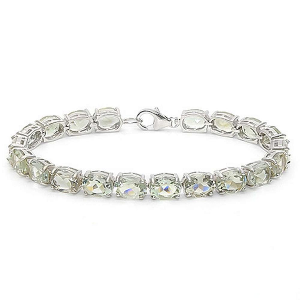 22.45 CT GREEN AMETHYST 925 STERLING SILVER TENNIS BRACELET IN OVAL SHAPE #IRS50068