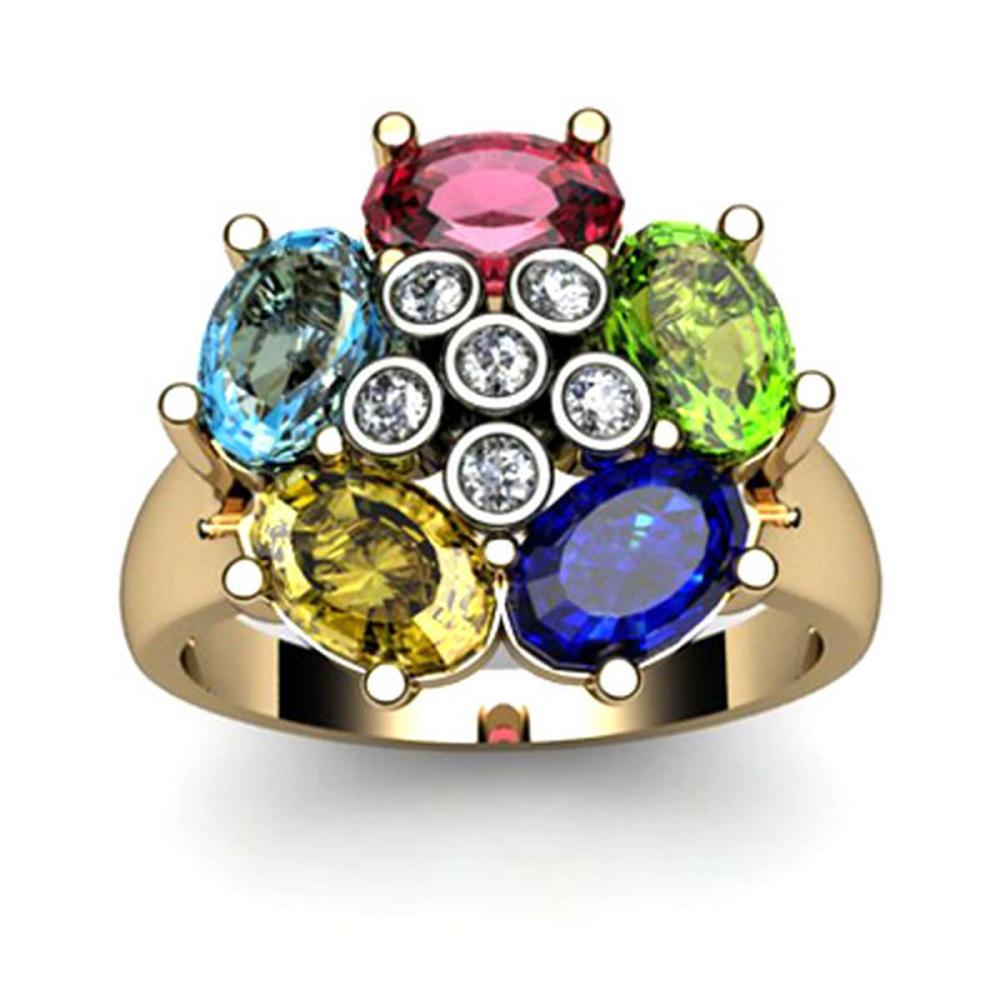 Genuine  2.9 ctw 10k Multi-Color Gemstone Diamond Ring #IRS13059
