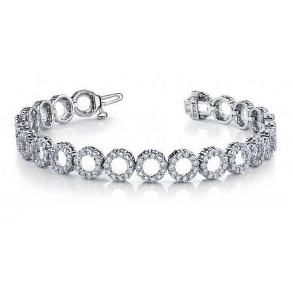 14KT WHITE GOLD 3 CTW G-H VS2/SI1 DYNAMIC DIAMOND CIRCLE LINK BRACELET #IRS20189