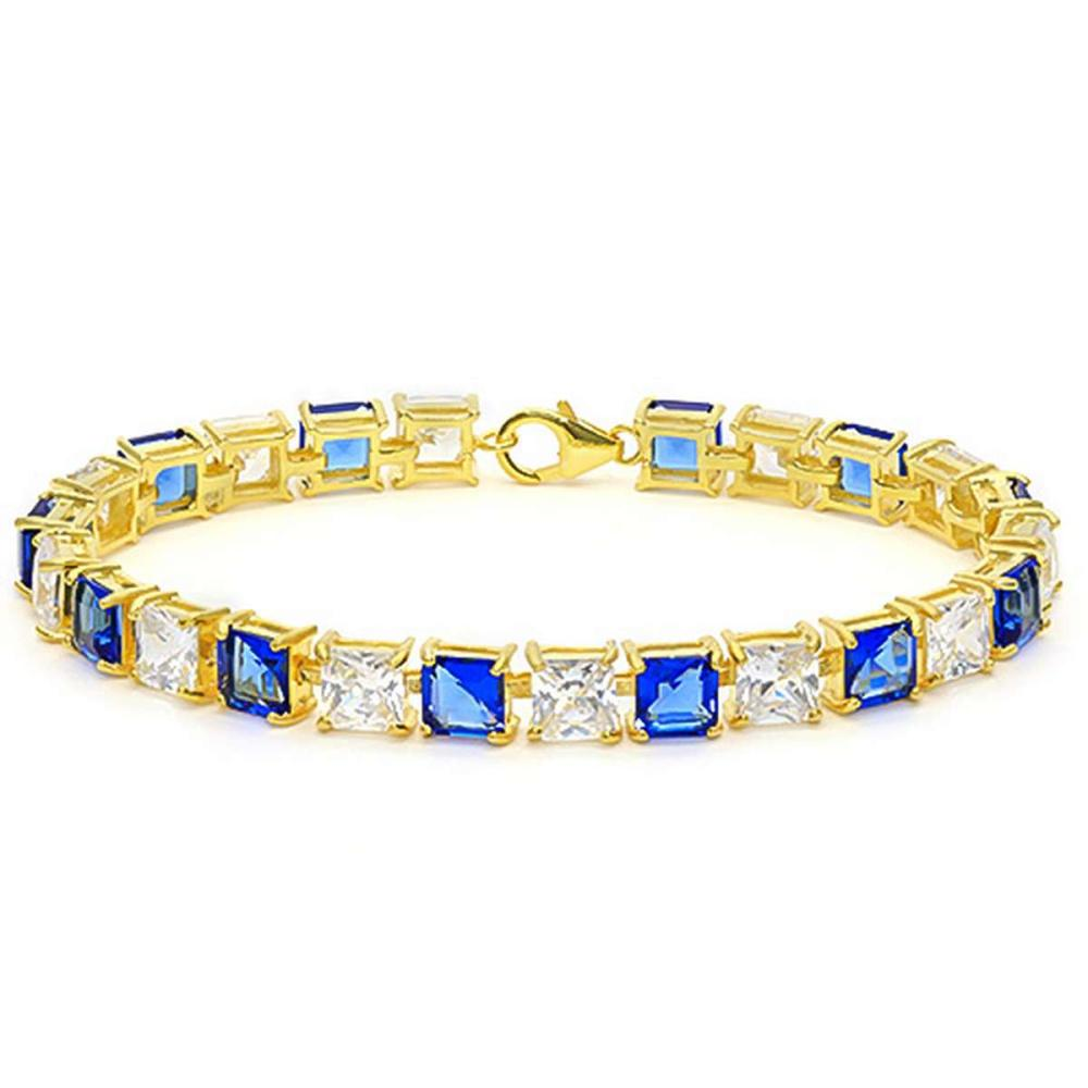 11.1 CTW CREATED TANZANITE AND 15.05 CTW CREATED WHITE SAPPHIRE 925 STERLING SILVER TENNIS BRACELET WITH GOLD PLATED IN SQUARE SHAPE #IRS15652