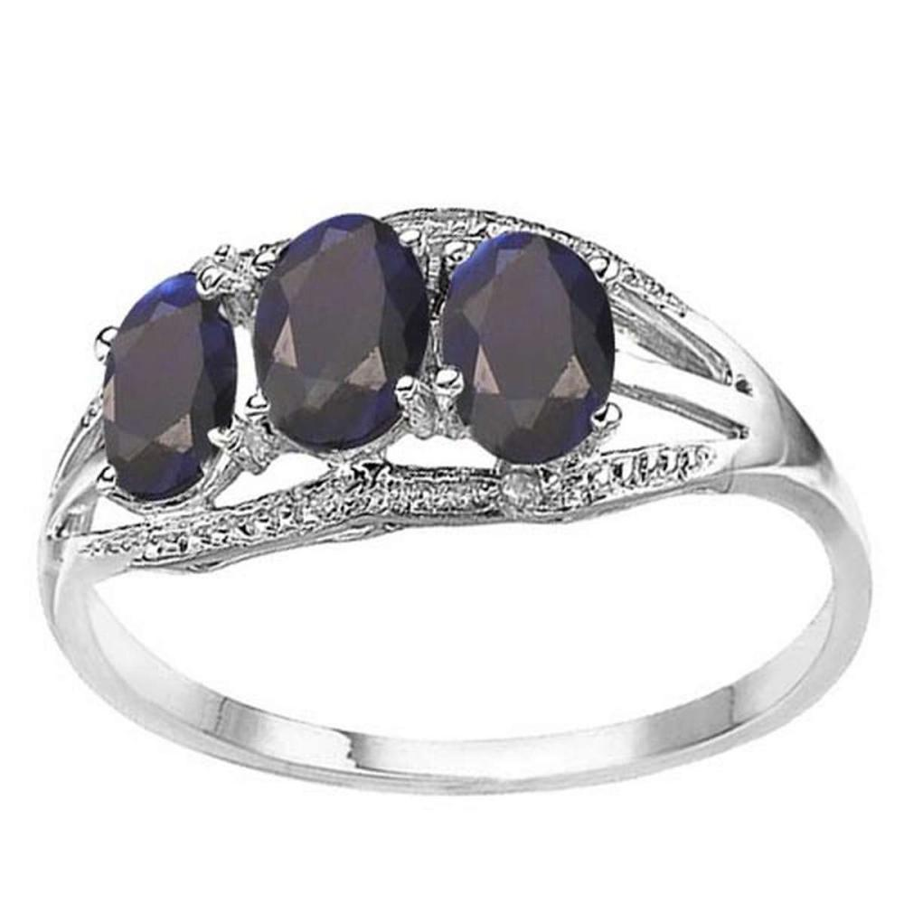 1.61 CTW GENUINE BLACK SAPPHIRE & GENUINE DIAMOND (2 PCS) 10KT SOLID WHITE GOLD RING  #IRS56578