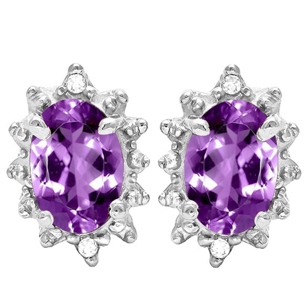 0.96 CT AMETHYST AND ACCENT DIAMOND 10KT SOLID WHITE GOLD EARRING #IRS93711