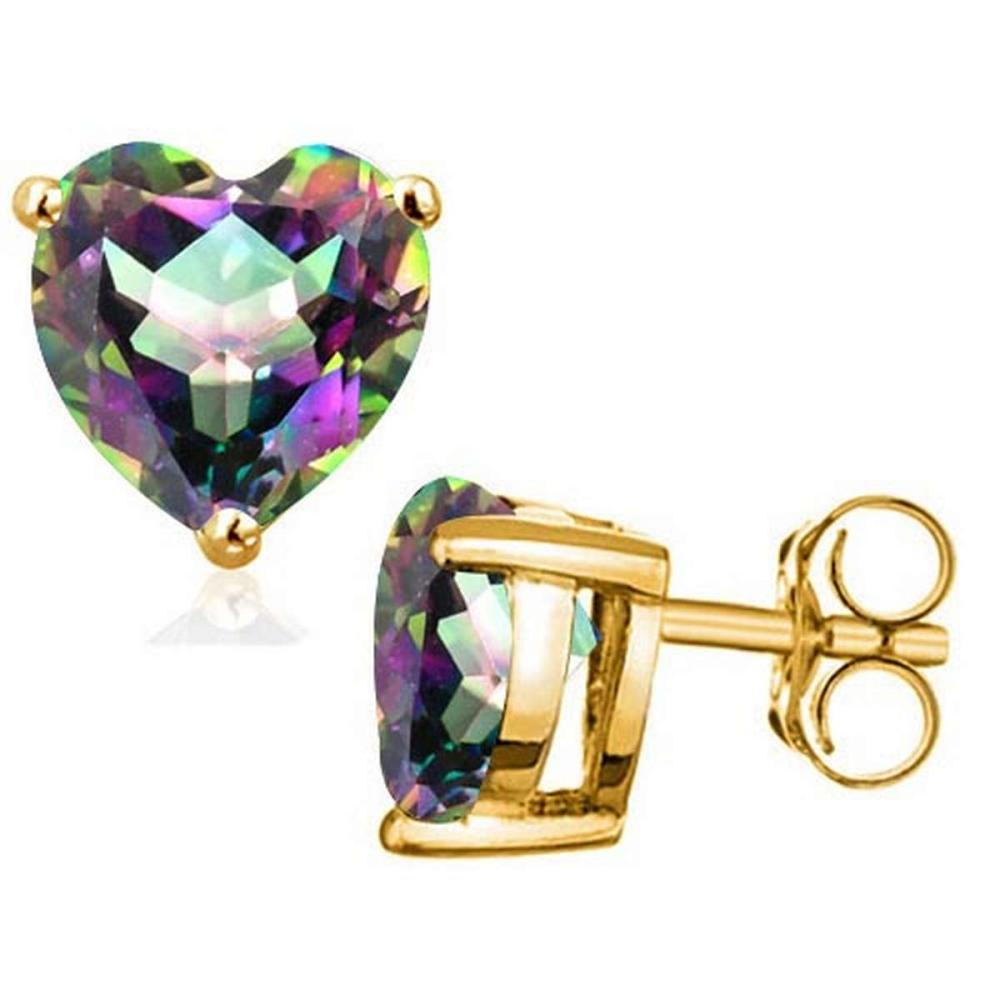 1.75 CTW MYSTICS GEMSTONE 10K SOLID YELLOW GOLD HEART SHAPE EARRING #IRS56691
