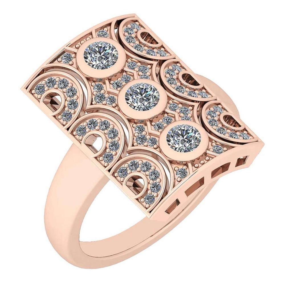 Certified 0.58 Ctw Diamond VS/SI1 Antique Styles 10K Rose Gold Band Ring Made In USA #IRS24342