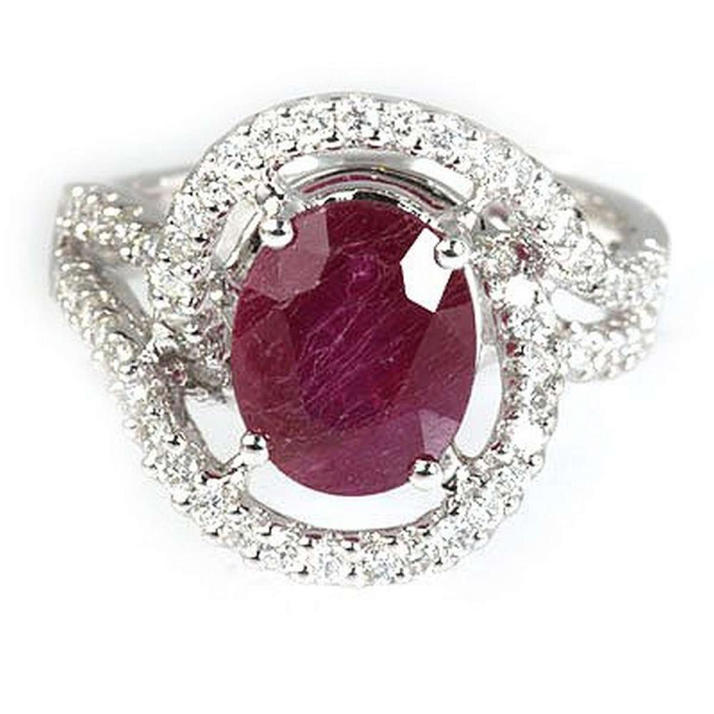 Genuine 4.93 ctw Ruby & Diamond Ring 18kt Gold-White  #IRS33305