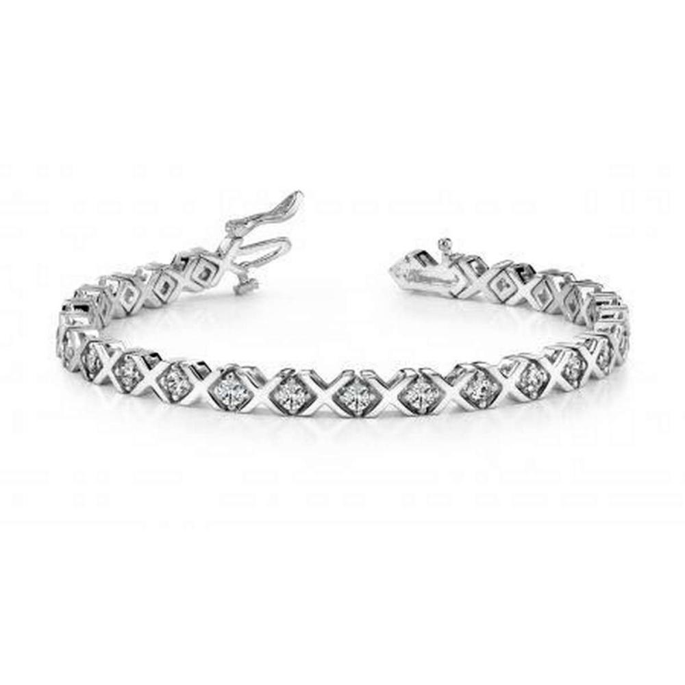 14KT WHITE GOLD 1 CTW G-H VS2/SI1 X AND O DIAMOND BRACELET #IRS20106