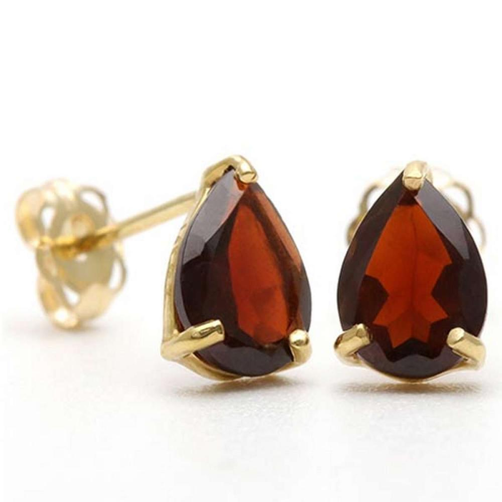 1.6 CTW GARNET 10K SOLID YELLOW GOLD PEAR SHAPE EARRING #IRS56720