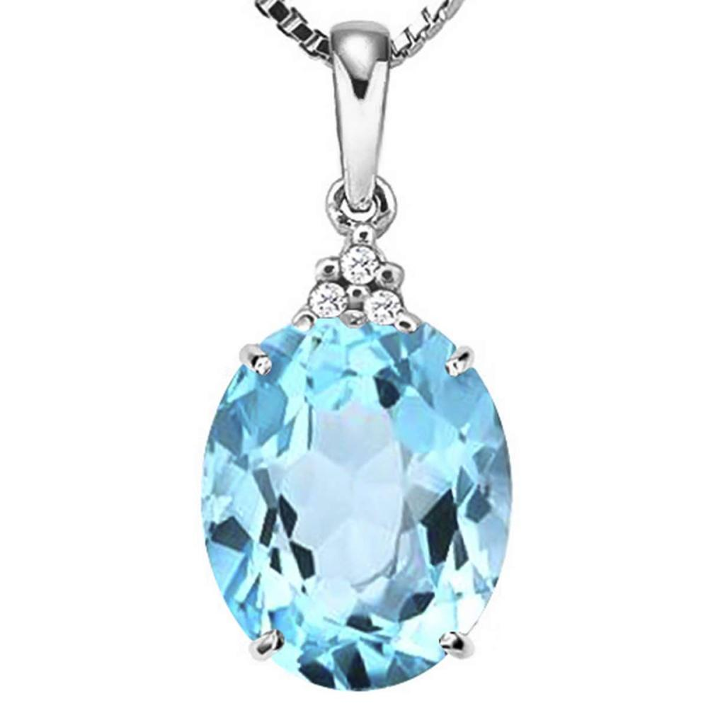 0.81 CTW SKY BLUE TOPAZ 10K SOLID WHITE GOLD OVAL SHAPE PENDANT WITH ANCENT DIAMONDS #IRS15606