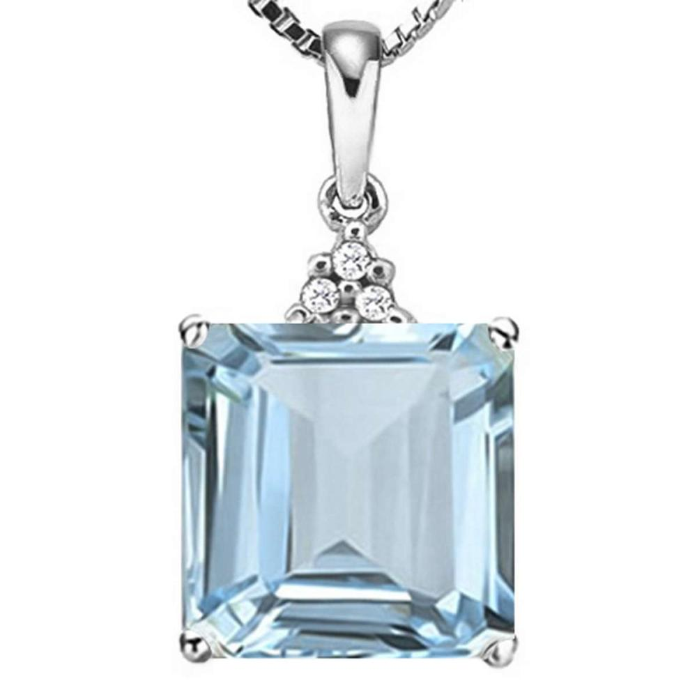 1.33 CTW SKY BLUE TOPAZ 10K SOLID WHITE GOLD SQUARE SHAPE PENDANT WITH ANCENT DIAMONDS #IRS15638