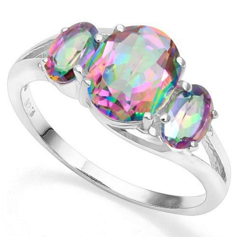 .925 STERLING SILVER OVAL 2.58CTW MYSTIC GEMSTONE WOMEN RING #IRS20008