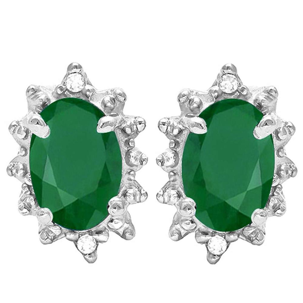 0.79 CT EMERALD AND ACCENT DIAMOND 10KT SOLID WHITE GOLD EARRING #IRS93707