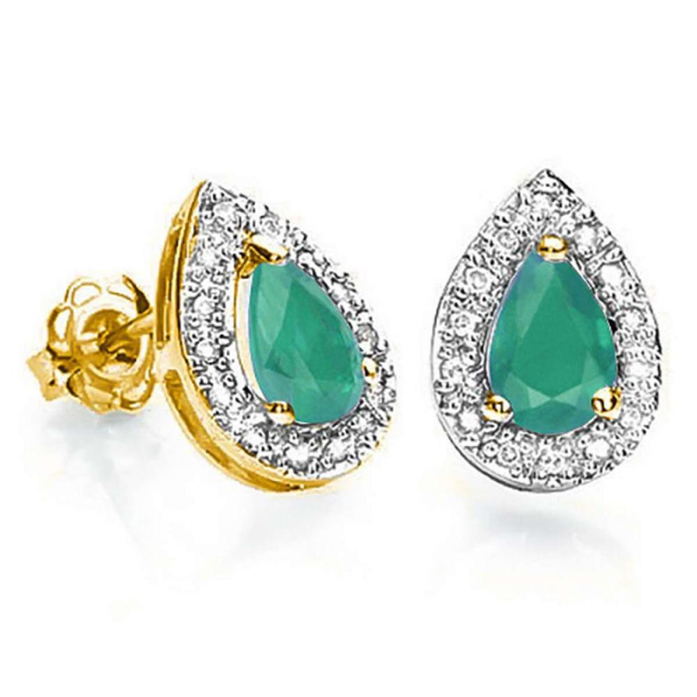 0.55 CT EMERALD AND ACCENT DIAMOND 10KT SOLID YELLOW GOLD EARRING #IRS93767