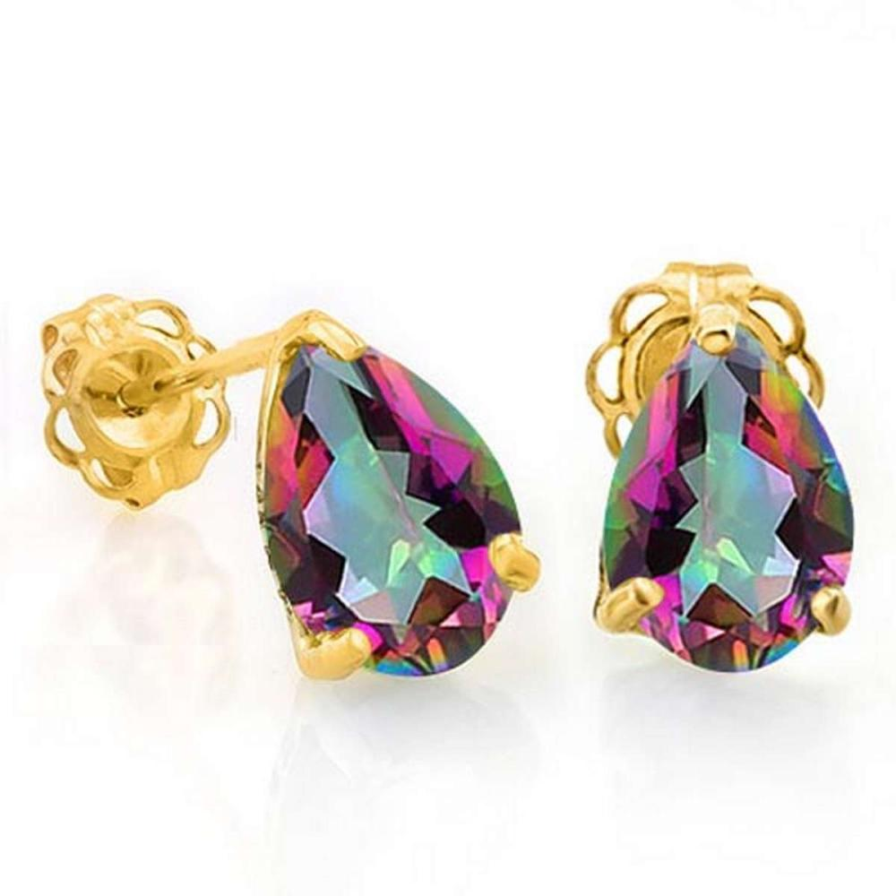 1.35 CTW MYSTICS GEMSTONE 10K SOLID YELLOW GOLD PEAR SHAPE EARRING #IRS56719
