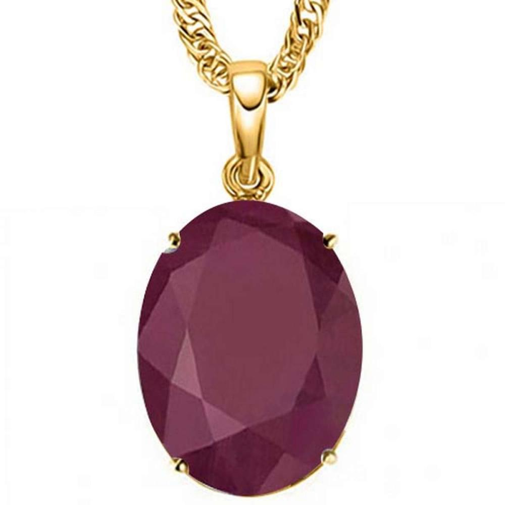 0.95 CTW RUBY 10K SOLID YELLOW GOLD OVAL SHAPE PENDANT #IRS56742