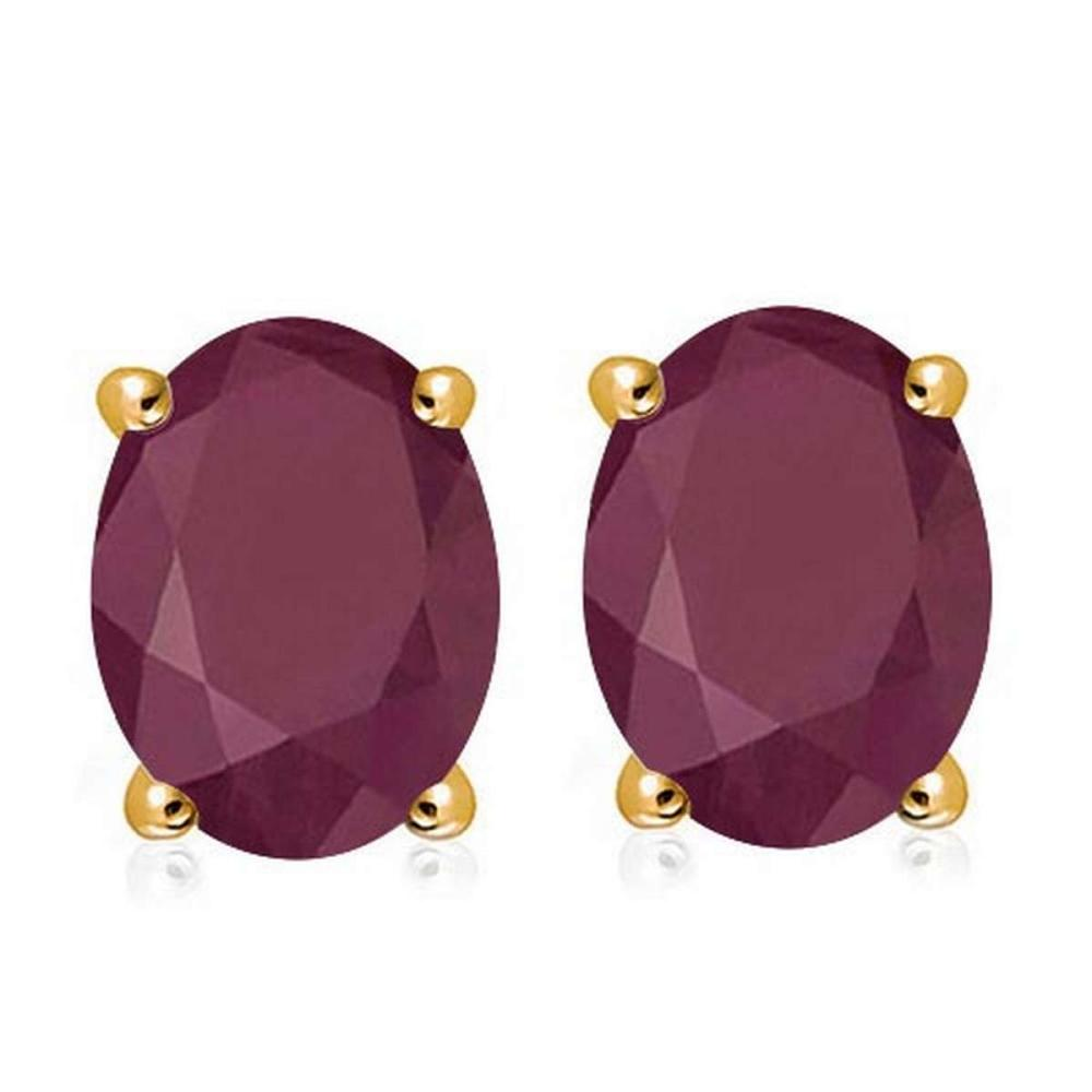 2.05 CTW RUBY 10K SOLID YELLOW GOLD OVAL SHAPE EARRING #IRS56681