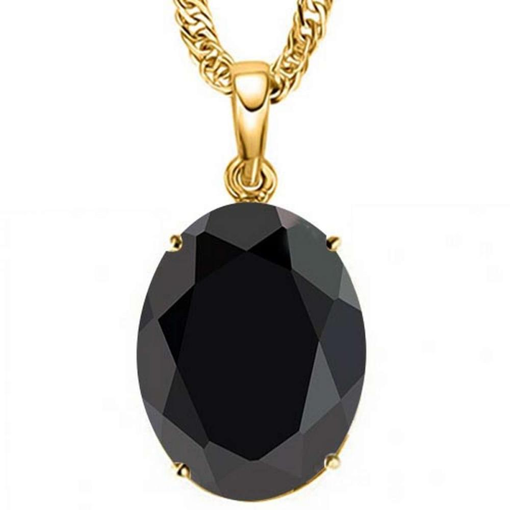 0.95 CTW BLACK SAPPHIRE 10K SOLID YELLOW GOLD OVAL SHAPE PENDANT #IRS56743