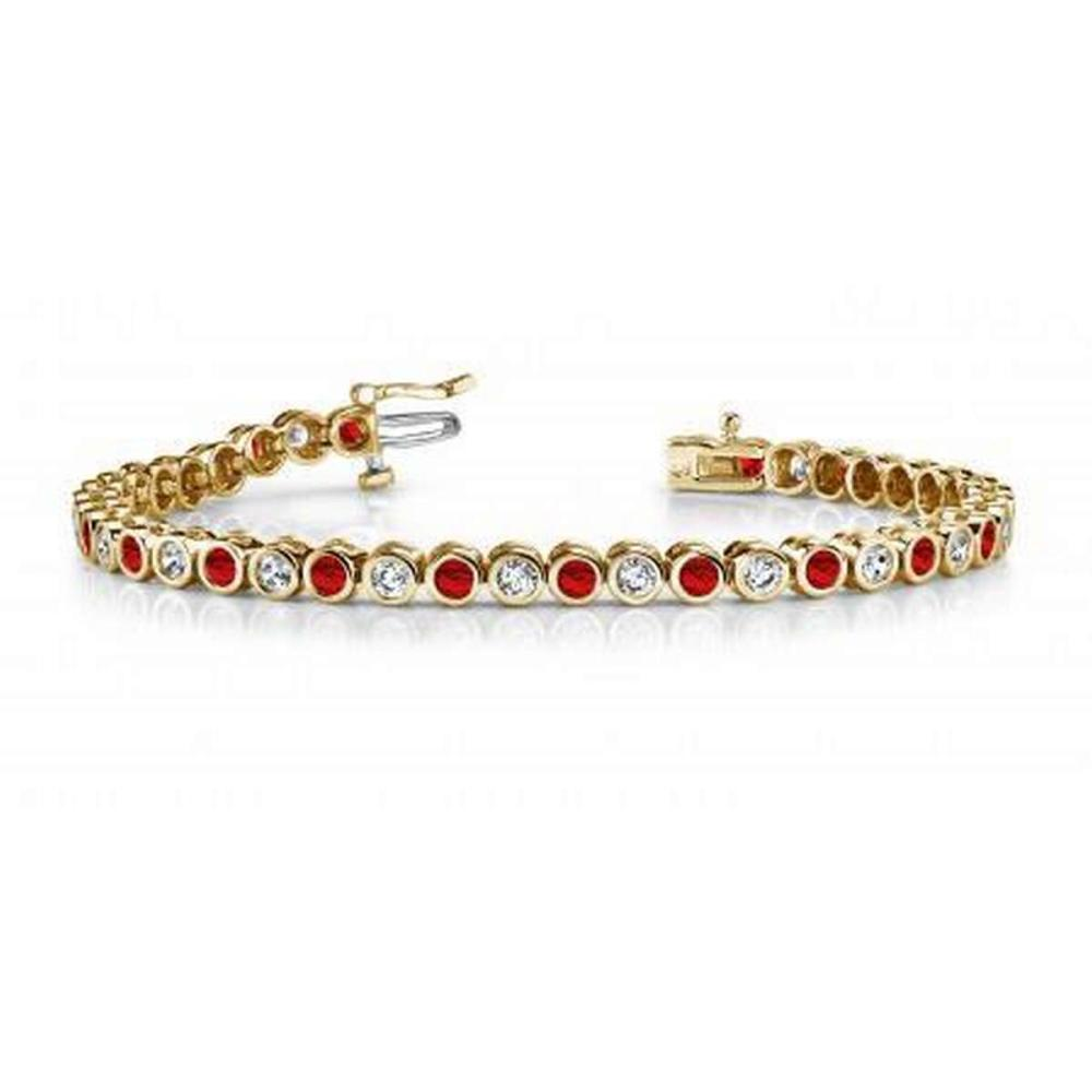 14KT YELLOW GOLD 2 CTW G-H VS2/SI1 CLASSIC ROUND BEZEL SET DIAMOND & RUBY TENNIS BRACELET #IRS20129